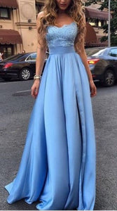 F0269 Sexy Evening Dress,Bule Appliques Prom Dresses,Long Prom Dress,Blue Evening Dresses, Charming Prom Dress, Formal Dresses