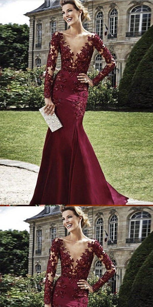 F0270 Mermaid V-neck Beaded Burgundy Lace Prom Dress ,Cheap Prom Dresses