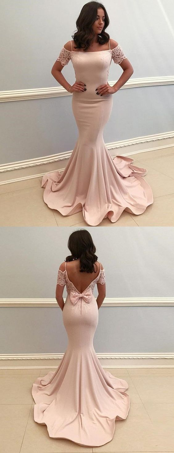 F0272 Pink Formal Off the Shoulder V-Back Long Mermaid Evening Prom Dresses
