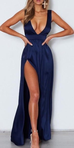 F0273 Deep V Neck Backless Navy Blue Long Navy Blue Side Split Simple