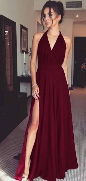 F0275 Halter Side Slit Long A-line Jersey Prom Dresses, PD0895 Halter Side Slit Long A-line Jersey Prom Dresses