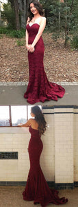 F0276 Sweetheart Mermaid Burgundy Lace Prom Dress With Train