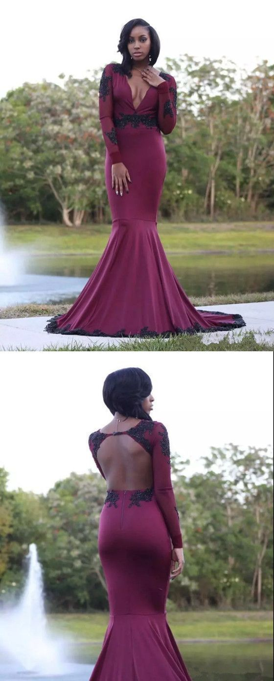 F0277 Mermaid Sexy Deep V Neck Long Sleeves Prom Dress with Sequins, Elegant Evening Dress Open Back