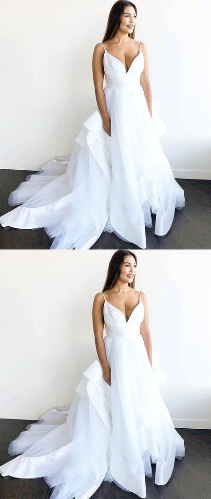 F0286 White v neck tulle long prom dress, white tulle evening dress