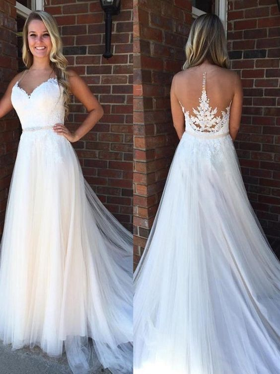 F0287 Long Prom Dresses Modest, White Formal Evening Dresses Princess, Elegant Military Ball Dresses Lace