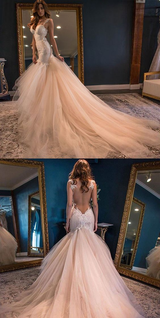 F0299 H358 Charming Lady Wedding bridal Gowns, Champagne Long Lace Appliques Wedding Dresses, Mermaid Long Wedding Dresses