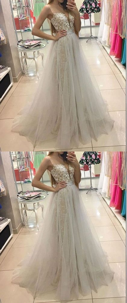 F0304 A-Line Spaghetti Straps Sweep Train Ivory Tulle Prom Dress with Lace Beading