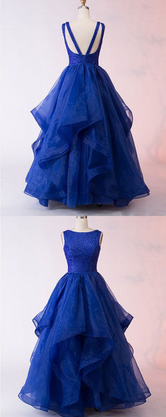 F0305 Royal Blue Tulle Backless Prom Dress, Ball Gown Formal Dress,Cheap Evening Dress,Custom Made,Party Gown