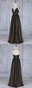 F0310 A-Line Deep V-Neck Sweep Train Black Tulle Backless Prom Dress