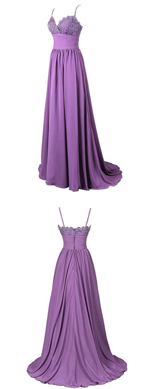 F0311 A-Line Spaghetti Straps Sweep Train Lavender Satin Prom Dress with Lace