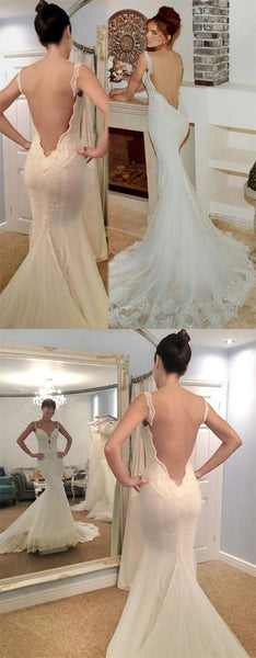 F0317 Mermaid Straps Backless Court Train Keyhole Wedding Dress with Lace