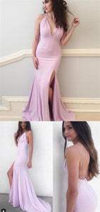 F0319 Mermaid Spaghetti Straps Pearl Pink Backless Prom Dress with Split