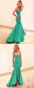 F0320 Green High Low Mermaid Scoop Sleeveless Prom Dress with Ruffles