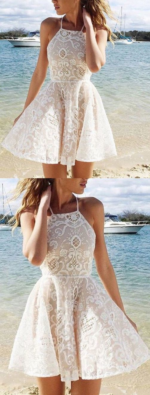 F0321 Sleeveless Ivory Party Homecoming Dresses Admirable Short A-line/Princess Lace Dresses