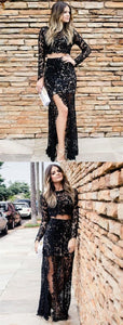 F0322 Two Piece Scoop Neck Black Floor Length Prom Dress with Long Sleeve