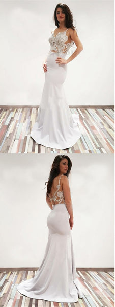 F0327 Mermaid Scoop Backless Sweep Train White Prom Dress with Appliques