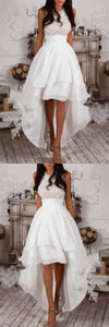 F0330 Sleeveless High Low White Prom Dress,Homecoming Dress,Party Dresses