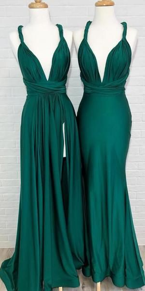 Convertible Teal Green Side Slit Cheap Long Bridesmaid Dresses,F0332