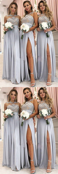 Glamorous A-Line Top Lace Chiffon Cheap Split High Neck Bridesmaid Dresses,F0340