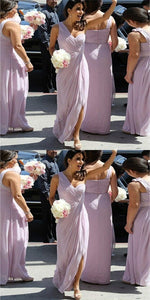 Elegant One Shoulder Long Cheap Lilac Chiffon Bridesmaid Dresses Online,F0344