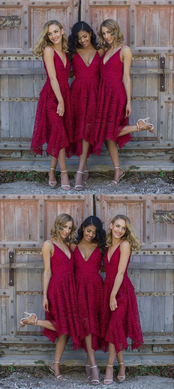 A-Line Spaghetti Straps V Neck Asymmetrical Red Lace Bridesmaid Dress,F0349