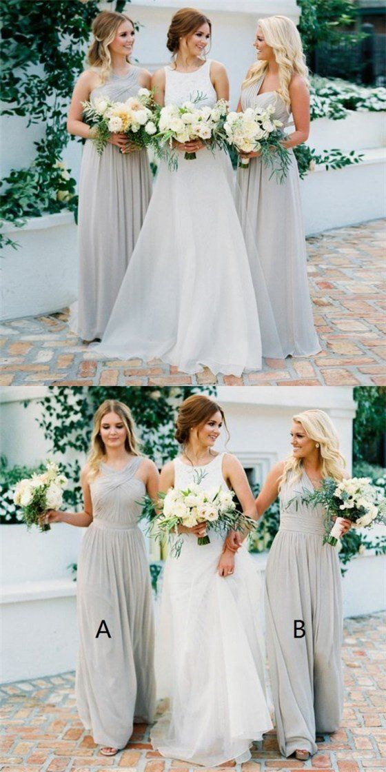 Pretty Round V-Neck Long Cheap Grey Chiffon Bridesmaid Dresses,F0355