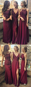Burgundy A Line Floor Length Sleeveless Appliques Beading Cheap Bridesmaid Dresses ,F0356