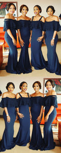 Off Shoulder Jersey Mermaid Bridesmaid Dress, Lace Backless Beads Floor-Length Bridesmaid Dress,F0357
