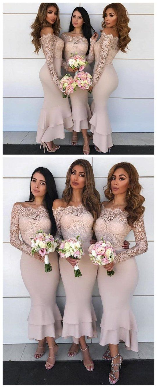 Off Shoulder Cheap Mermaid Long Bridesmaid Dresses With Lace Long Sleeve ,F0362