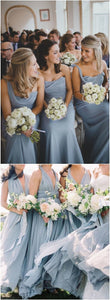Grey Chiffon Bridesmaid Dress, Strapless Long Bridesmaid Dress  ,F0369