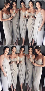 Neaest Simple V-neck Spaghetti Straps Sleeveless Grey Satin Cheap Bridesmaid Dress,F0370