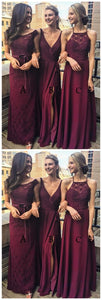 Multi Styles A-Line Floor-Length Burgundy Chiffon Bridesmaid/Prom/Evening Dress With Lace ,F0371
