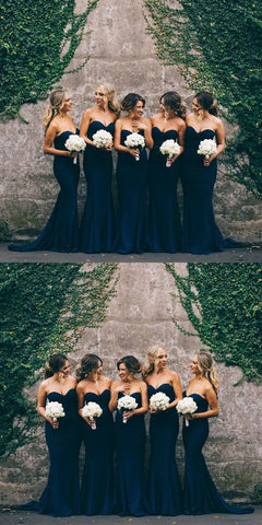 Gorgeous Mermaid simple sweet-heart Long cheap Navy Blue Strapless Bridesmaid Dress ,F0373