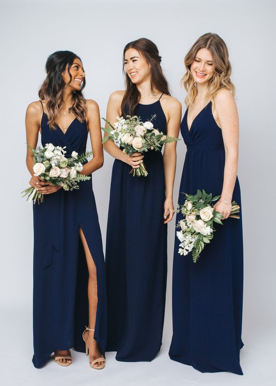 Gorgeous mix & match bridesmaids dresses in navy,F0374