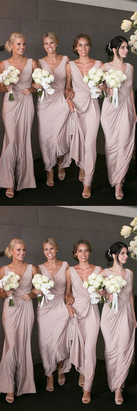 Sheath V-Neck Peal Pink Satin Ankle-Length Bridesmaid Dress ,F0376