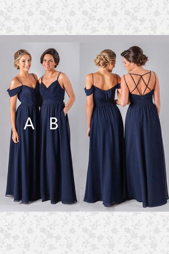 Hot Sale Light Navy Blue, Chiffon, Long, Blue,F0377