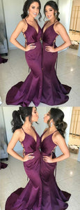 Spaghetti Straps Long Purple Open Back Mermaid Modest Bridesmaid Dresses ,F0378