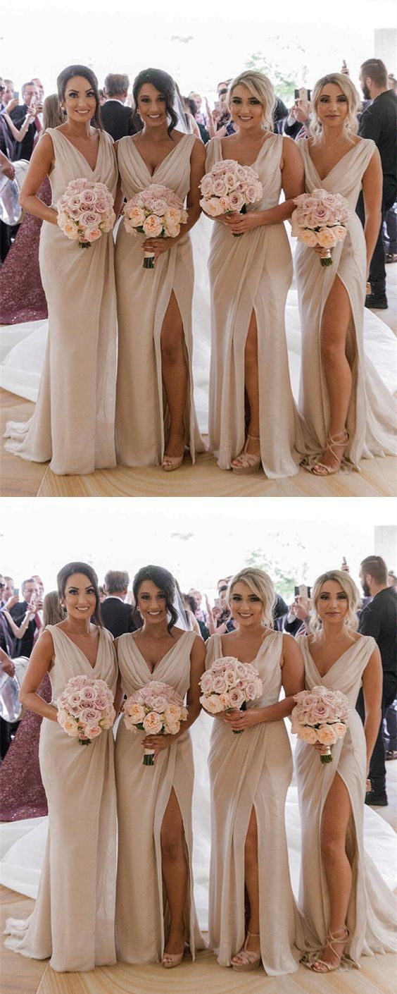 Sexy V-neck Long Tulle Leg Split Mermaid Bridesmaid Dresses,F0383