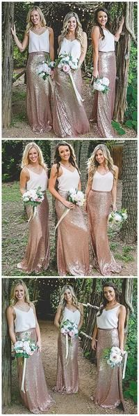 V Neck Casual Long Mermaid Sequin Cheap Bridesmaid Dresses Online,F03890