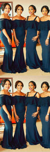 Mermaid Straps Dark Blue Bridesmaid Dress with Lace Ruffles,F0391
