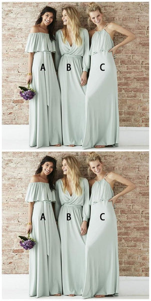 Prevalent Pale Cyan Mismatched Chiffon Long Bridesmaid Dresses Online,Inexpensive Bridesmaid Dresses,F0393