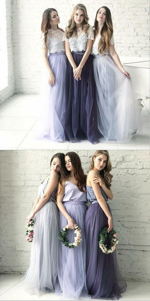 Cheap Two Piece Round Neck Long Light Blue Grey Silver Purple Lilac Tulle With Top Lace Bridesmaid Dresses,F0394