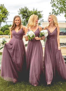 Tulle V Neck Affordable Floor Length Bridesmaid Dressess,F0396