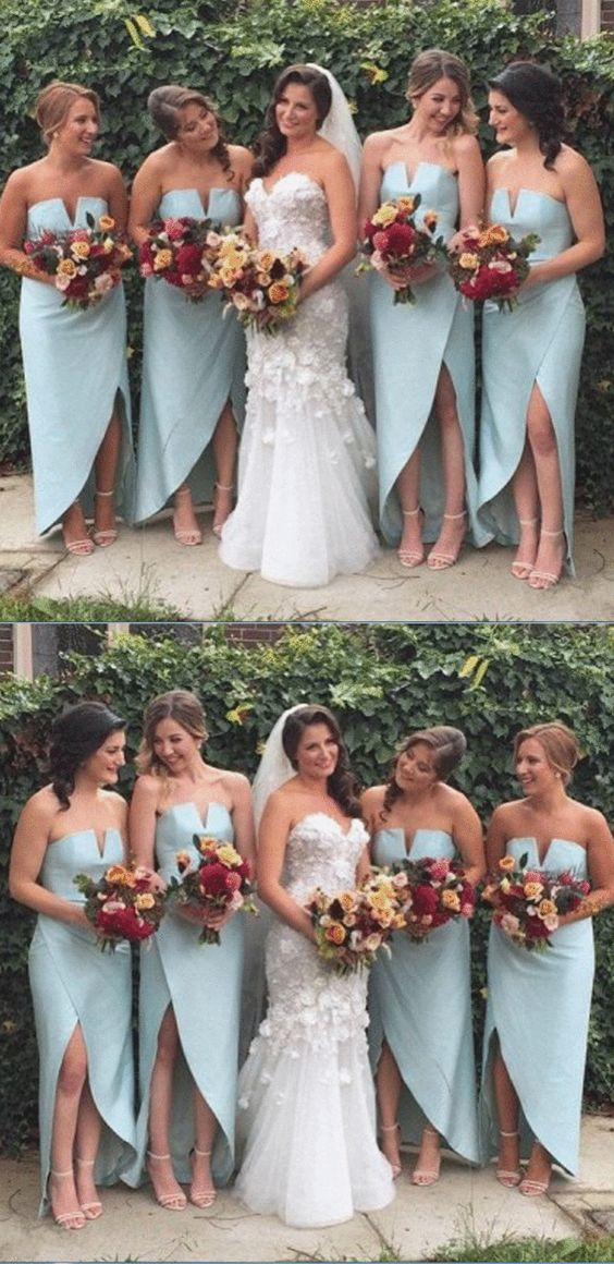 Simple Design Side Split Sexy Cheap Wedding Party Bridesmaid Dresses,F0398