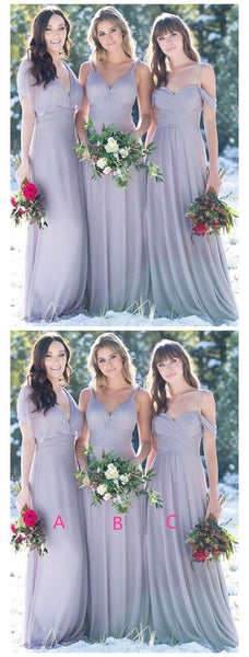 Long Tulle A Line V Neck Mismatched Bridesmaid Dresses ,F0399