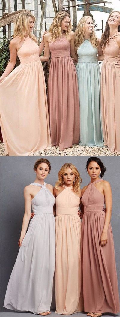 Halter Bridesmaid Dress,Bodice Prom Dress,Custom Made Evening Dress,F0402