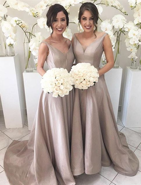 Long Gray Bridesmaid Dresses, A-line Bridesmaid Dress,cheap Bridesmaid Dress, Sweep Train Bridesmaid Dress, V-neck Bridesmaid Dress,F0406