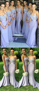 Mermaid Bridesmaid Dresses,Lilac Lace Bridesmaid Dresses,Sweetheart Cheap Bridesmaid Dress,Custom Made Long Bridesmaid Gown Prom Dresses ,F0407