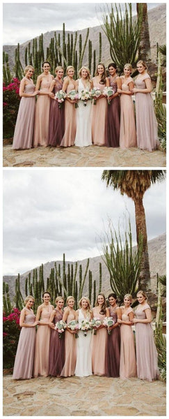Convertiable Cheap Long Tulle Bridesmaid Dresses Online, WG206 Convertiable Cheap Long Tulle Bridesmaid Dresses Online, ,F0412