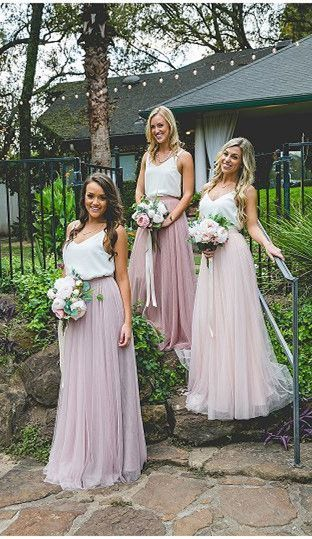 Gorgeous Two Piece Pink Tulle Long Bridesmaid Dress with White Top,F0413